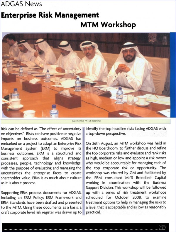 The ADGAS management team, including the then General Manager (second from right), at an ERM workshop in the company's Abu Dhabi Boardroom