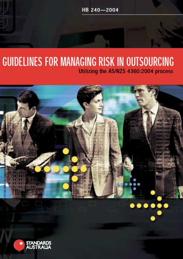 HB 240-2004 Guidelines for managing risk in outsourcing cover