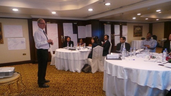 Dr Dale Cooper leading an Enterprise Risk Management training session in Doha, Qatar, in June 2014